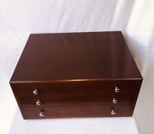 Christofle Cherry Wood Silverware Chest 3 Drawers Paris France Flatware Storage