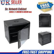 "9U 19"" Network Data Server Cabinet Wall Mounted Patch Panel PDU 445mm Deep BU"