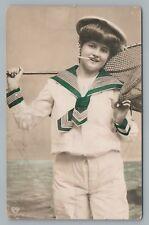 Cigarette-Smoking Fishing Girl RPPC Antique Handcolored Photo (Tape-Tear) 1911