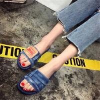 Womens Ladies Slip on Denim Flat Sliders Summer Flip Flops Slipper Mules Sandals