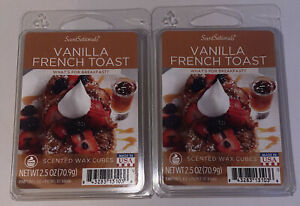 SCENTSATIONALS Scented Wax Cubes VANILLA FRENCH TOAST / 2 Packs / 2.5 Oz Each