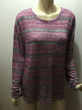 BNWT Womens Sz M 14 Mix Brand Magenta Stripe Round Neck Soft Knit Tunic Top