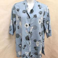 Dressbarn 18 20 Tunic Blue Oriental Pattern Bamboo Button Mandarin Collar Top