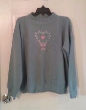 Womens Liz Thomas blue sweater size Large, floral, vintage -321