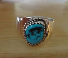 size 10 Sterling Silver 10x8mm Blue Turquoise 14mm wide Handcrafted Navajo Ring
