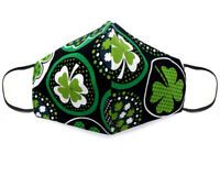 Fabric Face Mask Cotton Reusable Washable Adult Handmade in USA - Irish Clovers