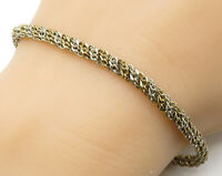 925 Sterling Silver - Vintage Two Tone Rope Twist Chain Bracelet - B4193