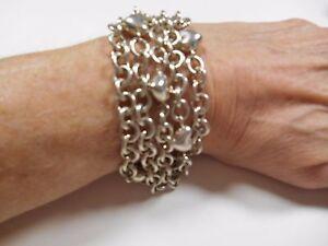 TIFFANY & Co Puffed Heart Multi 5 Strand Chain Toggle Clasp Bracelet RARE