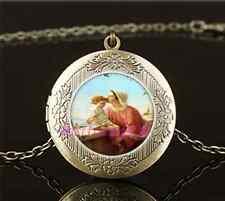 Vintage Mary & Jesus Photo Cabochon Glass Brass Locket Pendant Necklace