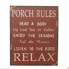 "Country Rustic 13"" Metal Antique Wisdom Sign ""PORCH RULES"" Wall Plaque Gift"