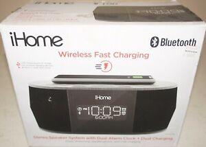 New iHome IBTW38BC Wireless Charging Bluetooth Alarm Clock Stereo Speaker -Black