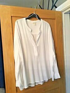 NEW # H&M PLUS SIZES  White Oversized Open Neck Long Sleeve Blouse Size 18