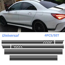 Universal Car Side Stripe Skirts Roof & Hood Decal Graphics Stickers Matte Black
