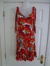 Vestido de verano Dolce & Gabbana Damas rojo tomate y flores tamaño 44/UK 12