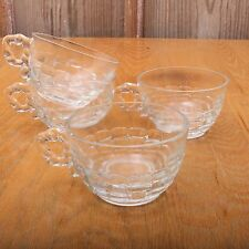 4 Vintage Glass Punch Glasses Shell Pattern