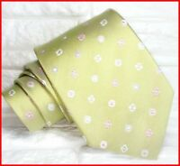 Green neck tie silk flowers Morgana brand Italy wedding business classic 3.3 in