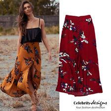 Ladies Leaf Print Ruffle Bohemian Slit Button Front Maxi Skirt Australia RRP $40