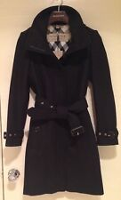 BURBERRY Womens GIBBSMOORE WOOL Blend Belted Trench Coat - BLACK - SIZE 0 - NWT!