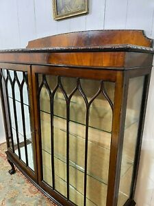 Elegant Victorian Glass Bow Fronted Display Cabinet