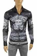 VERSACE Medusa Men's Dress Shirt Long Sleeve Navy blue/Black color 176 Size XXL