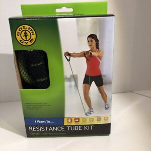 GOLD'S GYM Resistance Tube Kit NEW Long Length System Mesh Bag Workout Guide