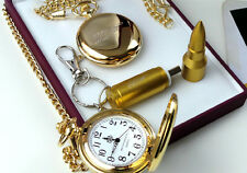 007 JAMES BOND Gold Pocket Watch & USB Bullet Memory Stick Keyring Luxury Set