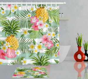 """Striped Green Palm Leaves Pineapple Hibiscus Fabric Shower Curtain Set 72x72"""""""