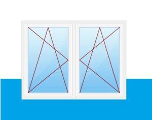 2-flügliges Pfostenfenster Weiß DK/Dreh-Kipp Kunststofffenster mit Pfosten