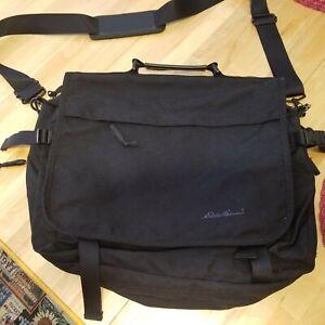 Eddie Bauer Expandable Black Canvas Laptop / Messenger Bag with Handle & Strap