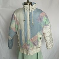 New york Girl 80s 90s Retro Japan Puffer Jacket Pastel Blue Pink White Sz M Wmns