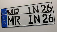 1 Satz KFZ-Kennzeichen PKW KURZ 46cm, Nummernschilder, Wunschkennzeichen