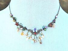 Asymmetric Flower Ladybug Charm Bib Necklace Gold Tone