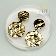 Boucles d`Oreilles Clip Pendant Doré Art Deco Deux Anneau Metal Vintage A10OSC4