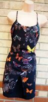 TOPSHOP BLACK STRAPPY MULTI COLOUR BUTTERFLY RUFFLE CAMI LONG TOP MINI DRESS 8 S