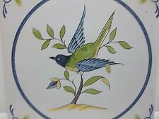 Vintage French Faience MAJOLICA Tile BLUEBIRD Hand Painted