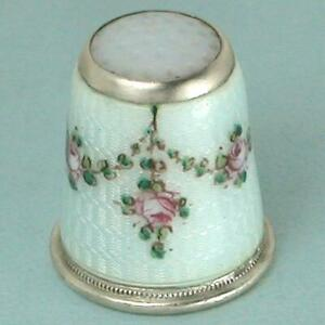 Antique Stone Top Enameled Roses Silver Thimble * Germany * Circa 1900