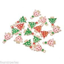 10 Mixte Pendentifs Charms Breloque Sapins de Noël Émail pr Bracelet 20x14.5mm