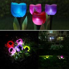 6x Outdoor Solar Powered Led Tulip Flower Lights Garden Yard Path Way Color Lamp
