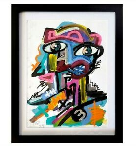 NEO EXPRESSIONISM PAINTING ART FRAMED CONTEMPORARY PORTRAIT LIVING ROOM DECOR