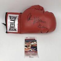 Autographed/Signed THOMAS HITMAN HEARNS Red Everlast Boxing Glove JSA COA Auto