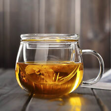 300ml Heat Resistant Clear Glass Mug Coffee Tea Cup w/ Tea Infuser Filter & Lid