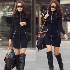 Black Women Fashion Dress Slim Zipper Up Long Sleeve O-Neck  Bodycon Mini Dress