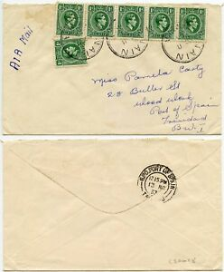 JAMAICA to TRINIDAD AIRMAIL KG6 PENNY x 6 FRANKING ONE FAULT NAIN POSTMARKS