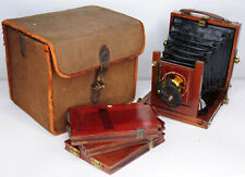 """RARE 1905 Marlow Brothers The """"MB"""" No.1 Half Plate Wooden Camera (3104BL)"""