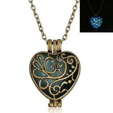 GLOW IN THE DARK Heart Pendant Fairy Necklace / Jewellery Gift Idea Steampunk