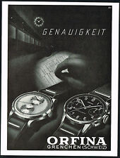 1940s Old Vintage 1947 Orfina Chronograph Swiss Watch Mid Century Art Print Ad