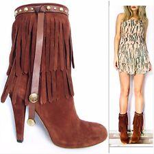 Gucci Babouska Fringe Suede Leather Tan Brown Womens Boots Heels, EU40, UK 6.5/7