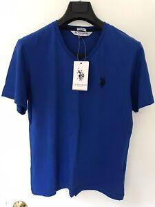 US Polo Assn Men V-Neck T-Shirt Blue New (M)