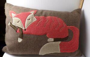 "20"" X 11"" Rectangle Wool Red Fox Pillow Devi Designs Cute!"