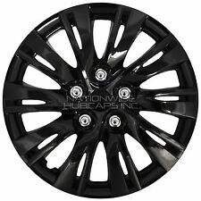 "15"" Set of 4 Black Wheel Covers Snap On Full Hub Caps fit R15 Tire & Steel Rim"